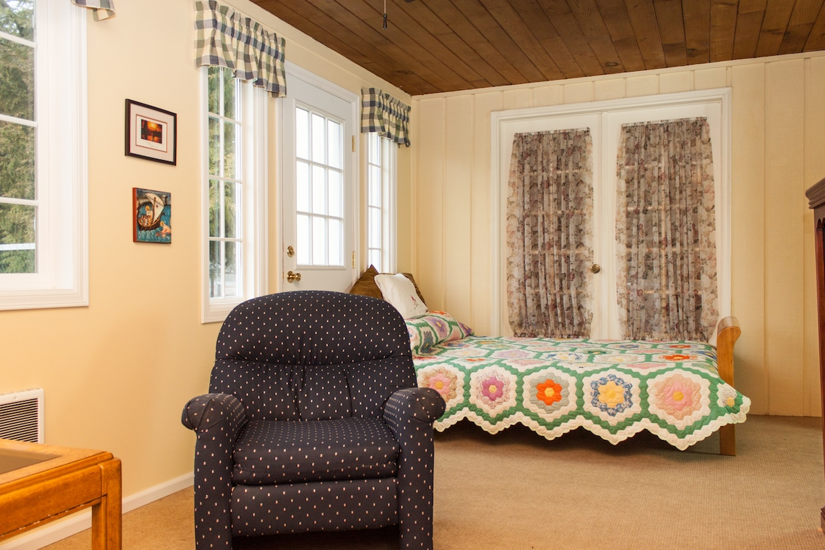 Our double guest room with a full-size futon is  designed for couples or a single person desiring a bit more space