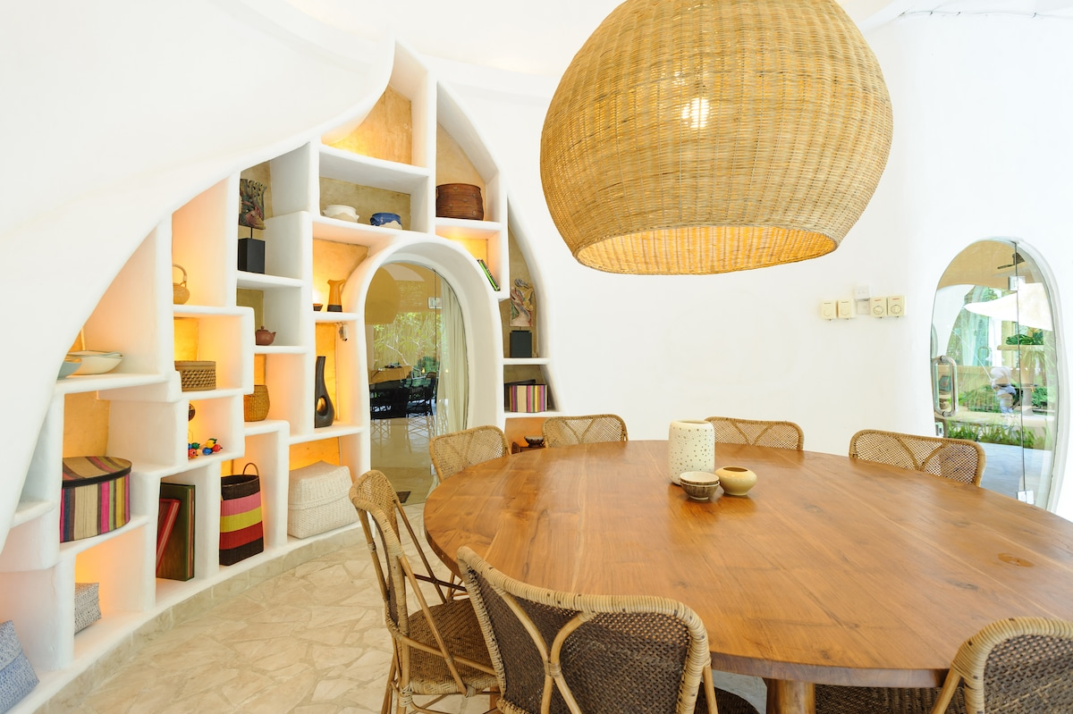 Colourful unique dining space.