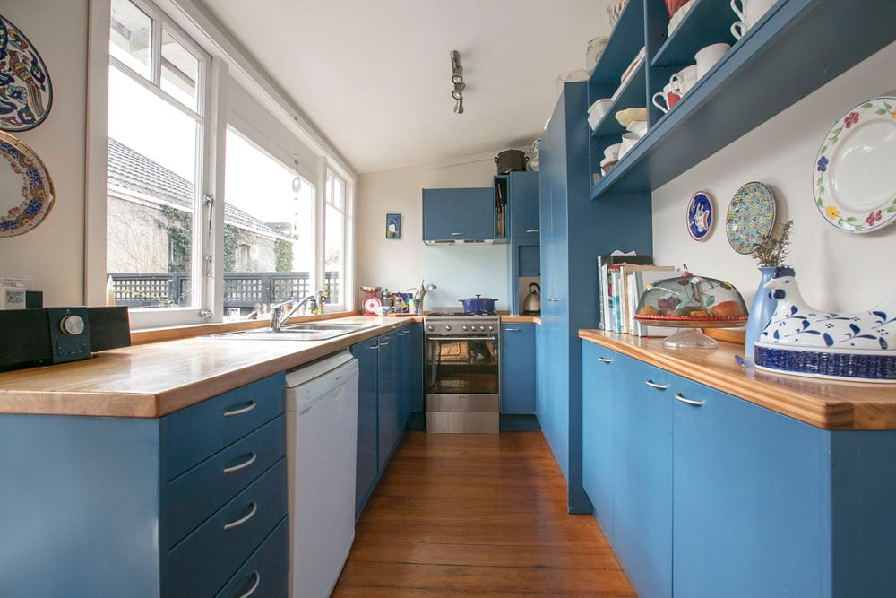 The galley-style kitchen