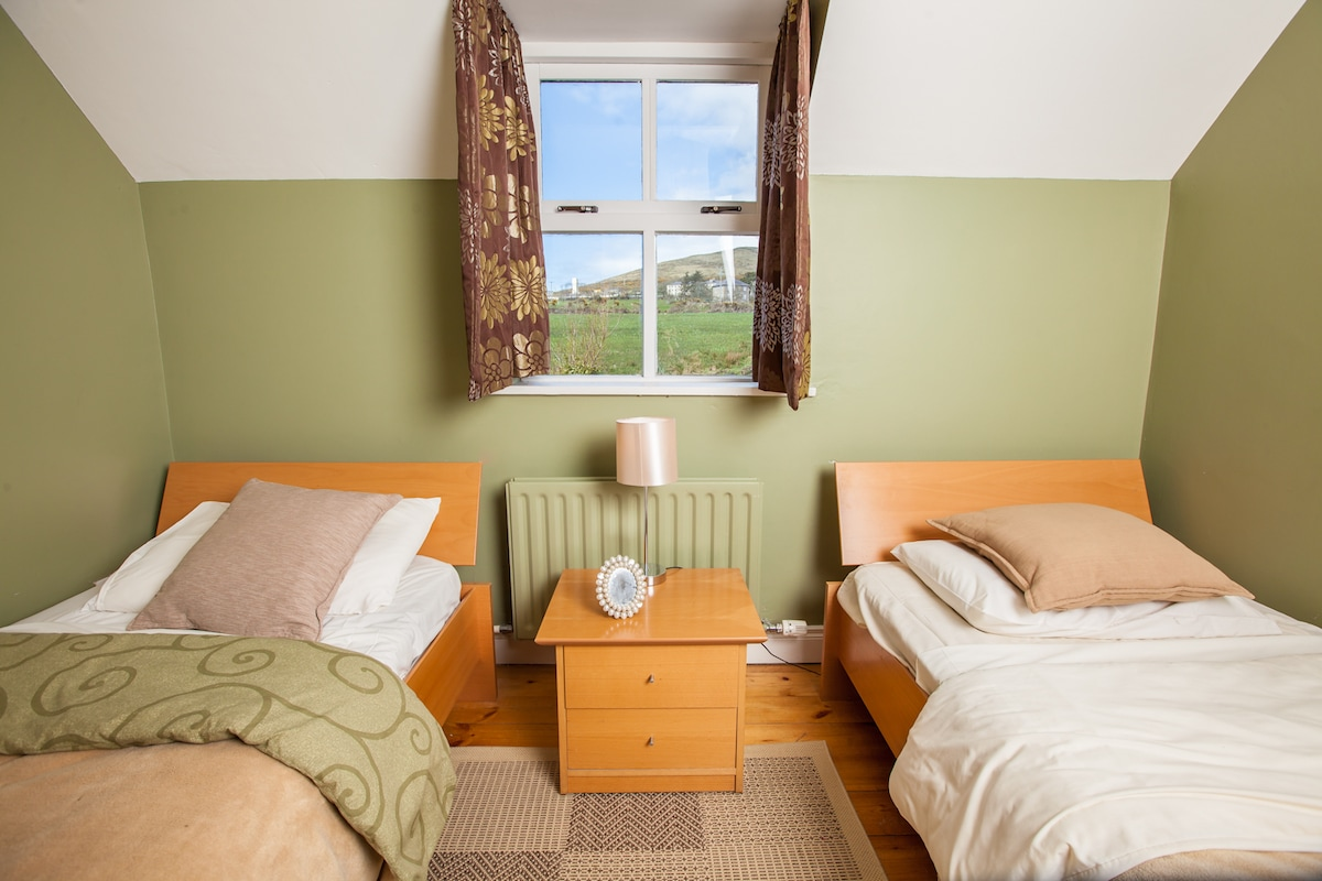 Twin  room overlooking  the green