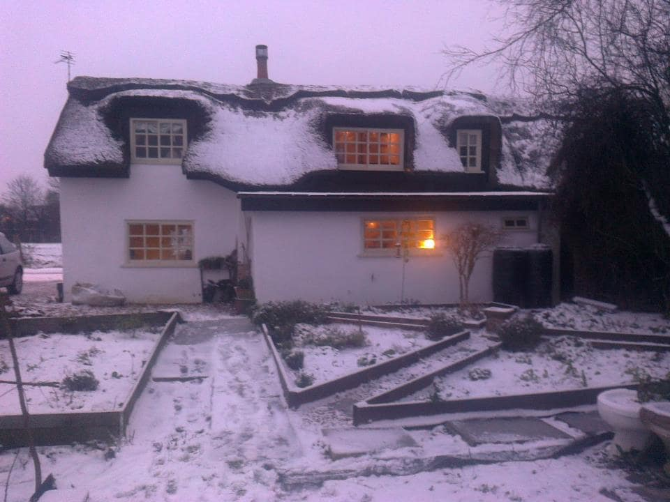 Willow Cottage in the snow.