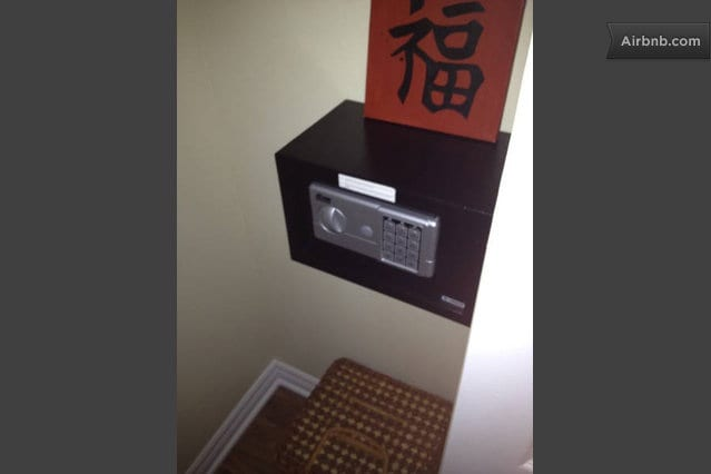 The guests have a safe in the large bedroom