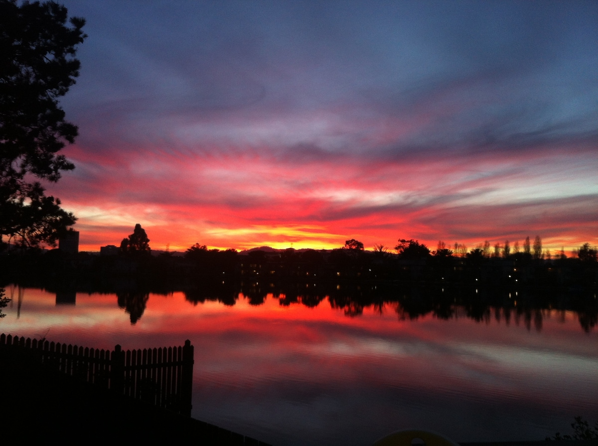 Beautiful view of the sunset from the deck outside the dining room.