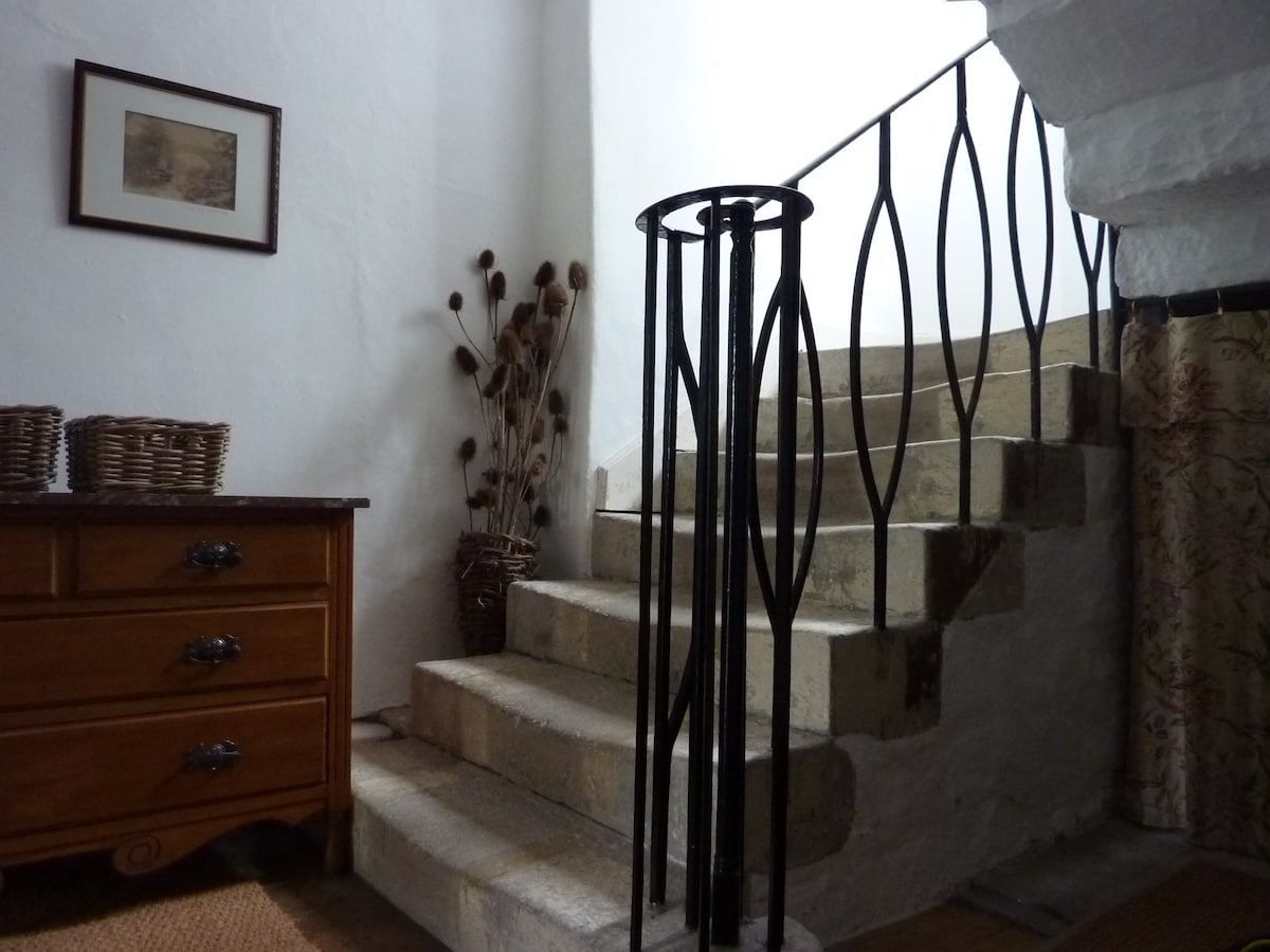 Original stone stairs - imagine Charlotte and Emily climbing these very stairs!