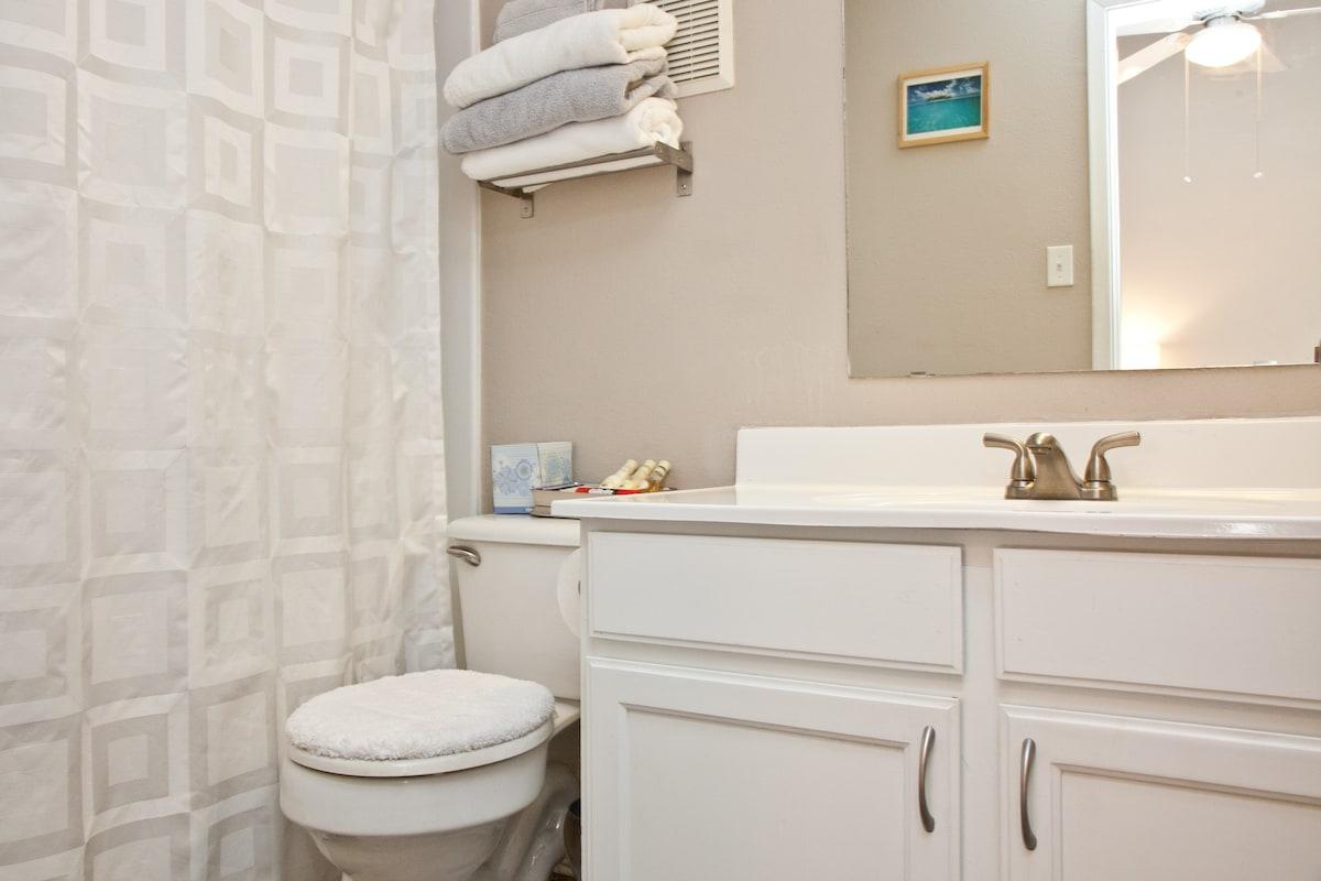 Your own Master Bathroom full bath, shower, granite floors, tons of linens