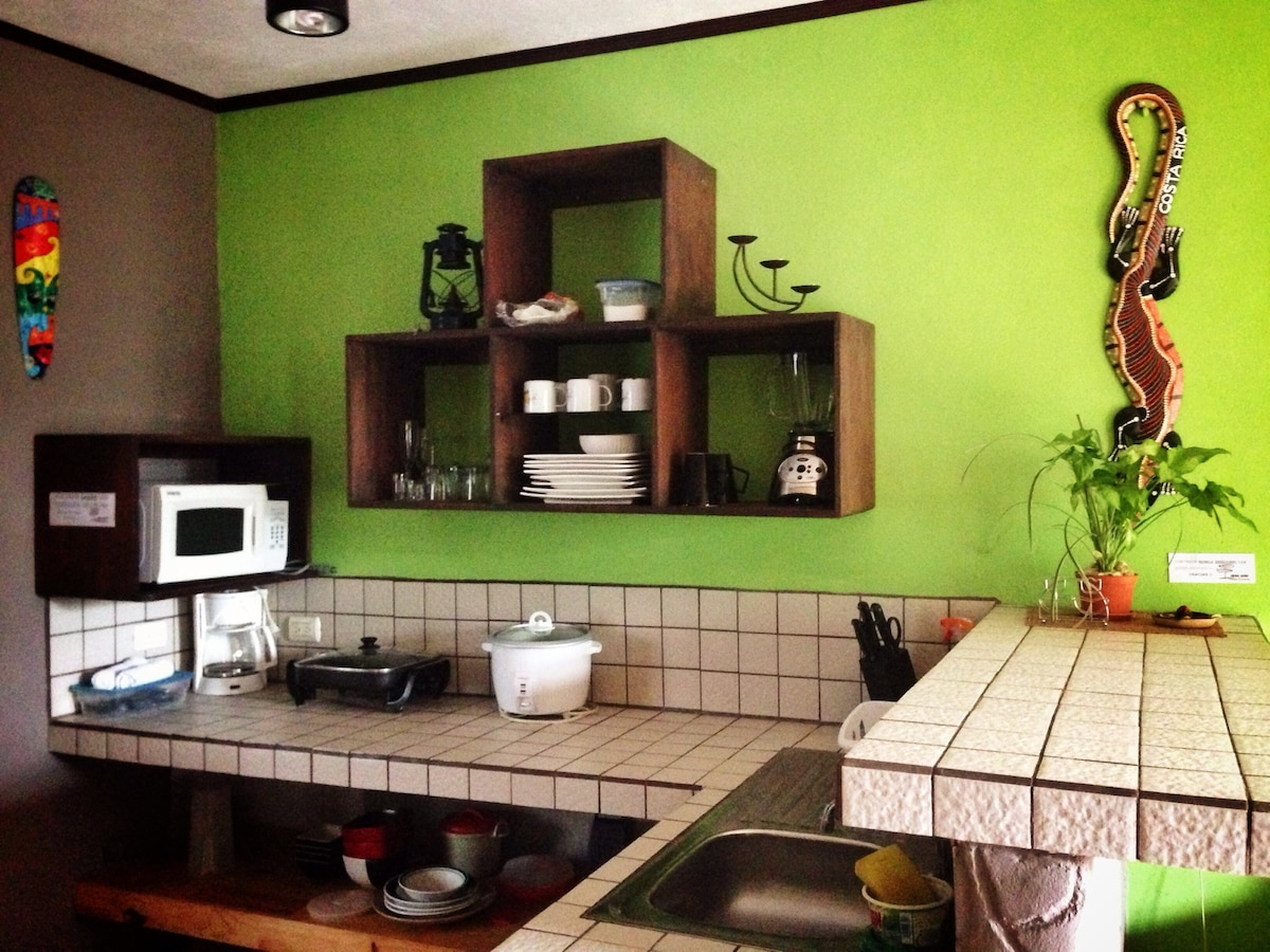 Fully equipped kitchen (refrigerator, hot plate, electric skillet, rice cooker, blender, microwave,  coffee maker).  Tea, coffee, salt, sugar included.
