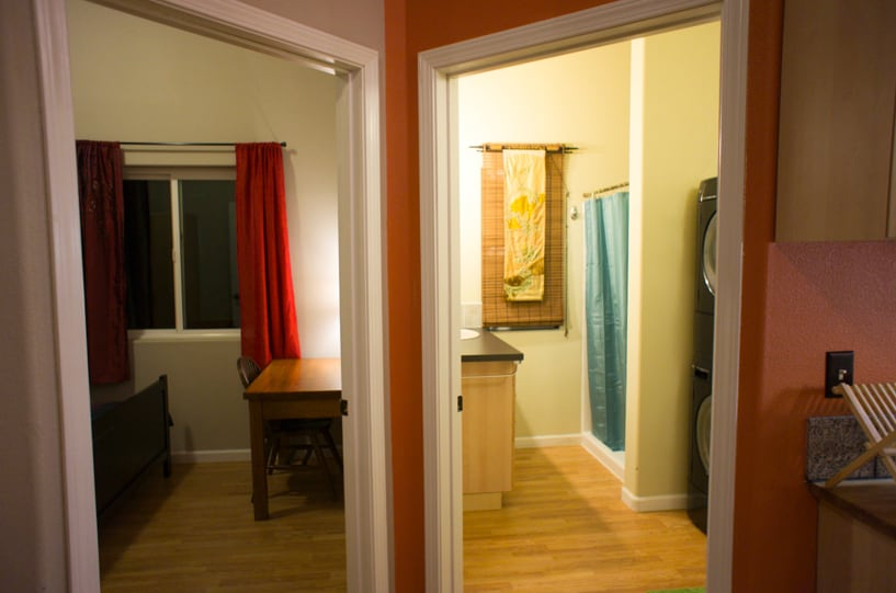 Bedroom to the left, bathroom to the right