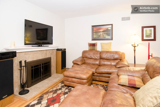 Leather couches, high quality sound system and cable TV with, Xbox and DVR.