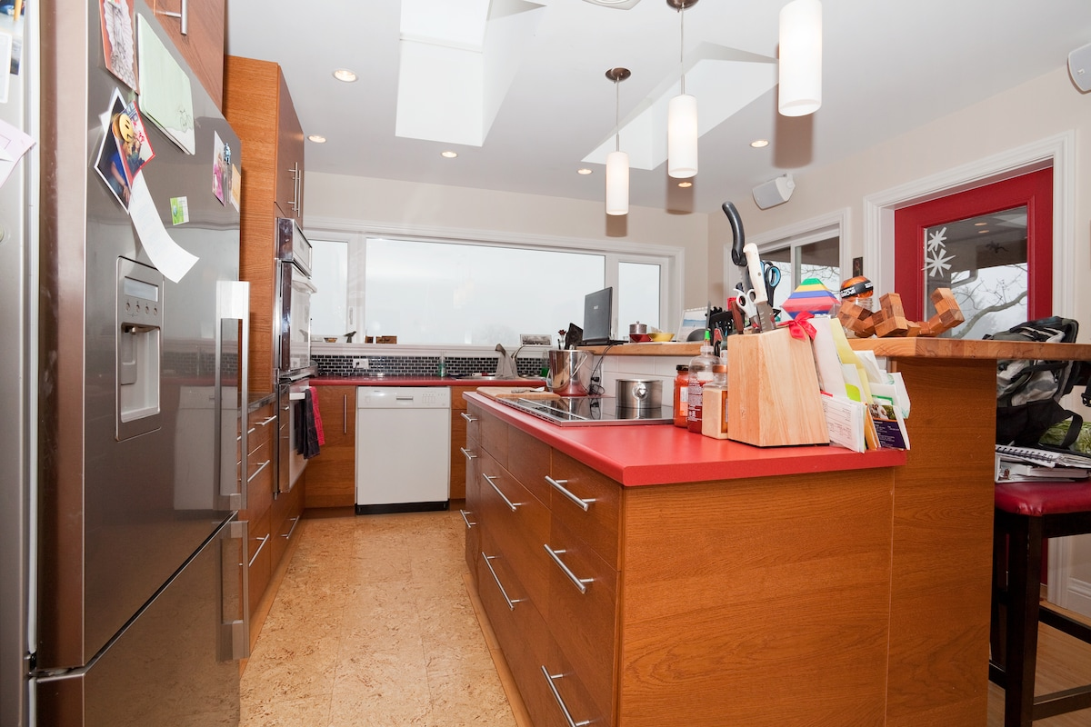 Kitchen with the cork floors and lots of light even on a grey day