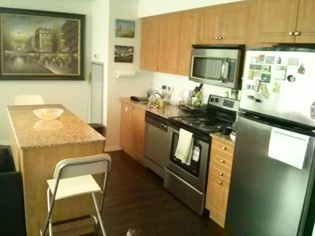 Kitchen with a dishwasher, oven, microwave, fridge, etc.