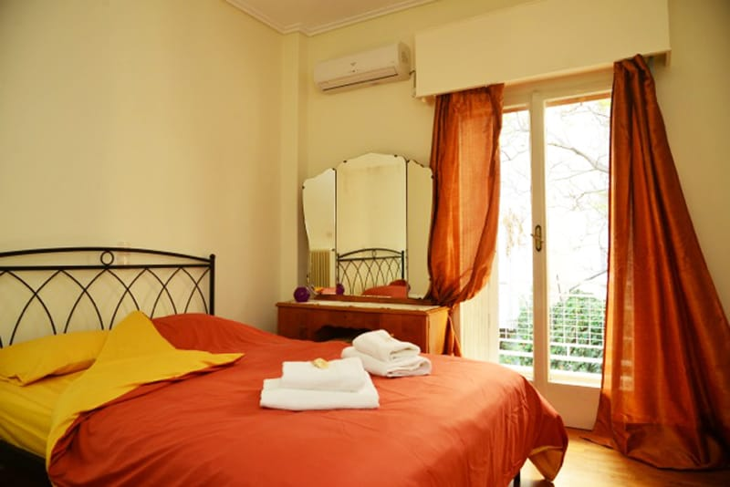 The romantic master bedroom with double bed.Hi-end technology air conditioning.