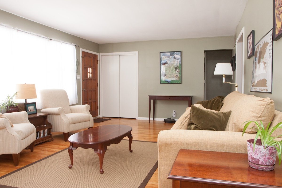 This is our sitting room.  This couch pulls out into a sofa bed.  A cozy room to hang out in!