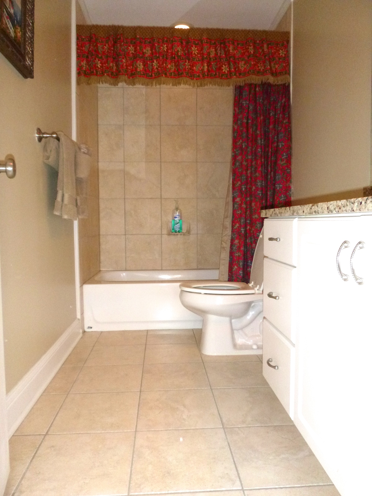 Master bathroom with tiled shower, granite counter top
