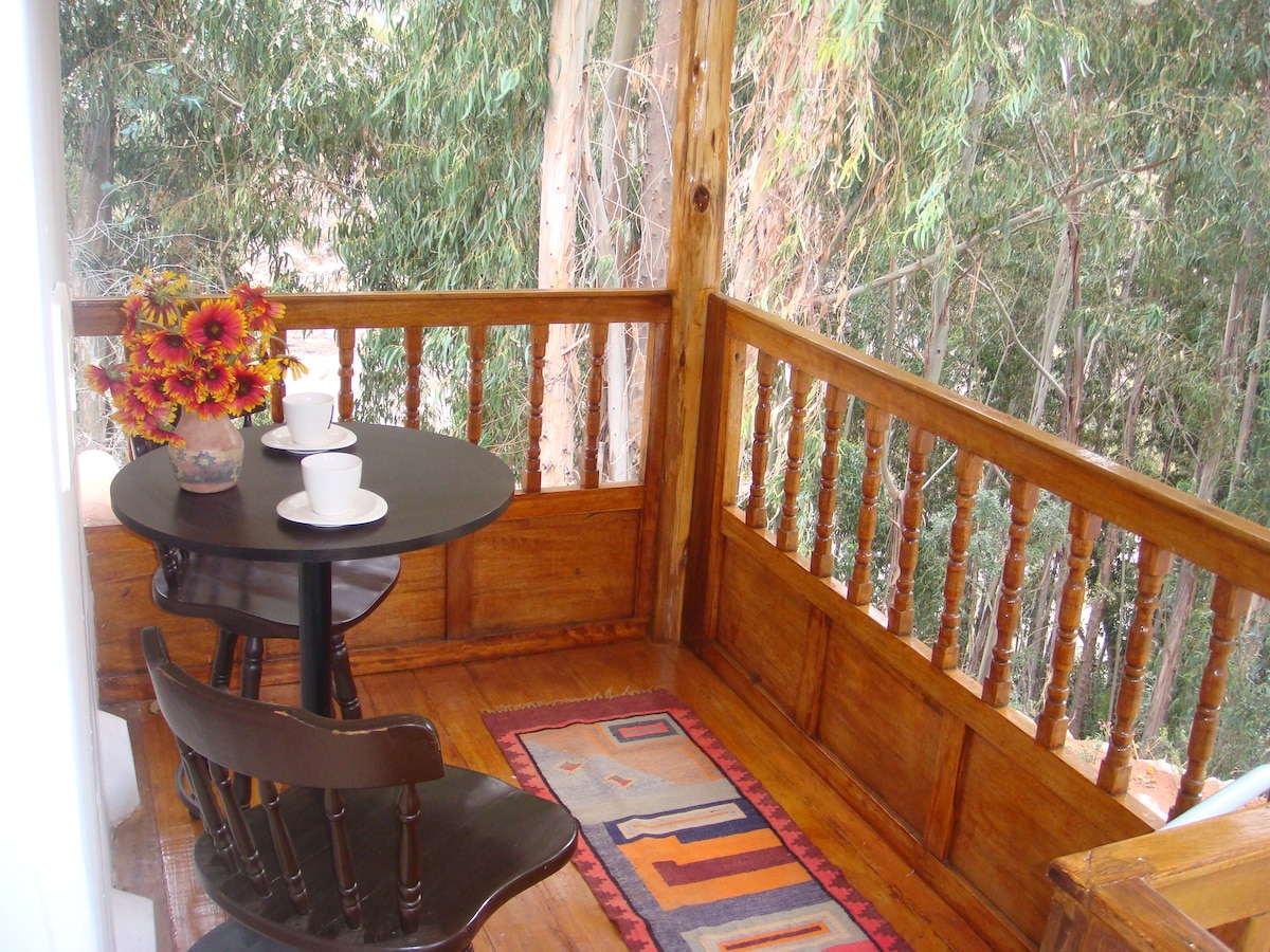 Guest Apartment.Lovely balcony for a cup of coffee or tea, overlooking at the woods and mountains.