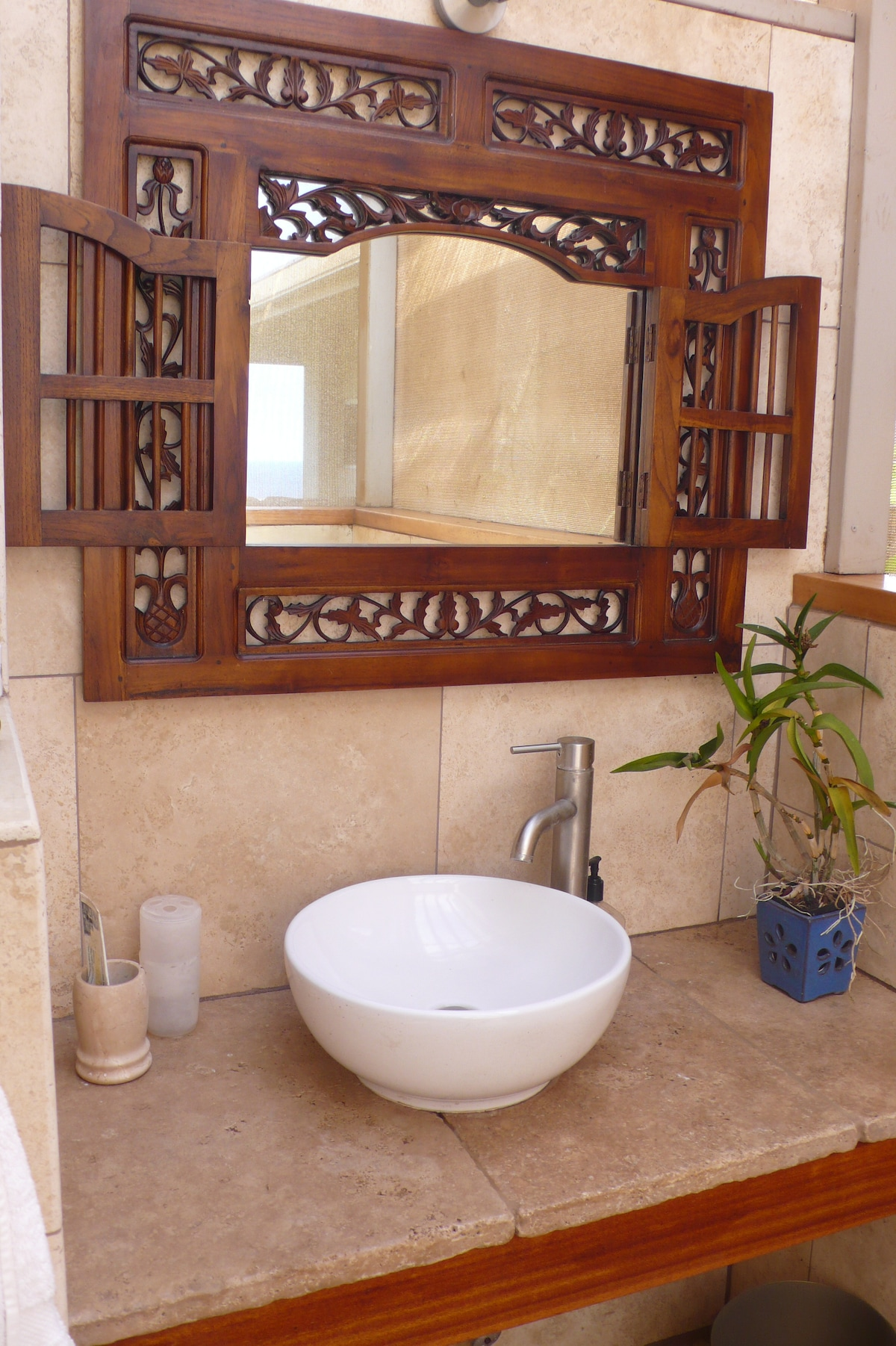 Private travertine bathroom vanity
