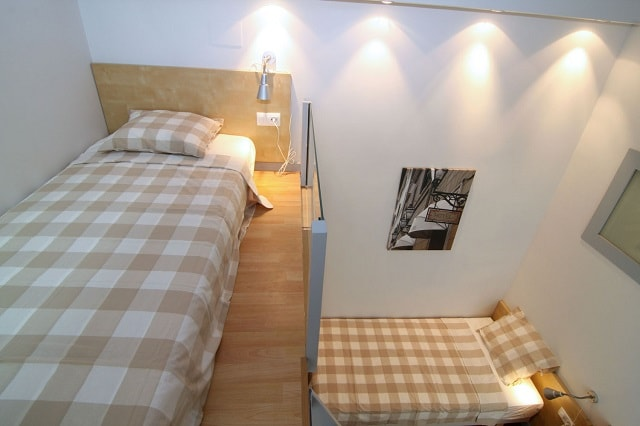 Second room - single bed on mezzanine