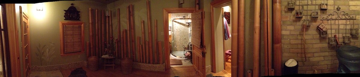 Private shower for guest use.  Bamboo-lined lounge area.