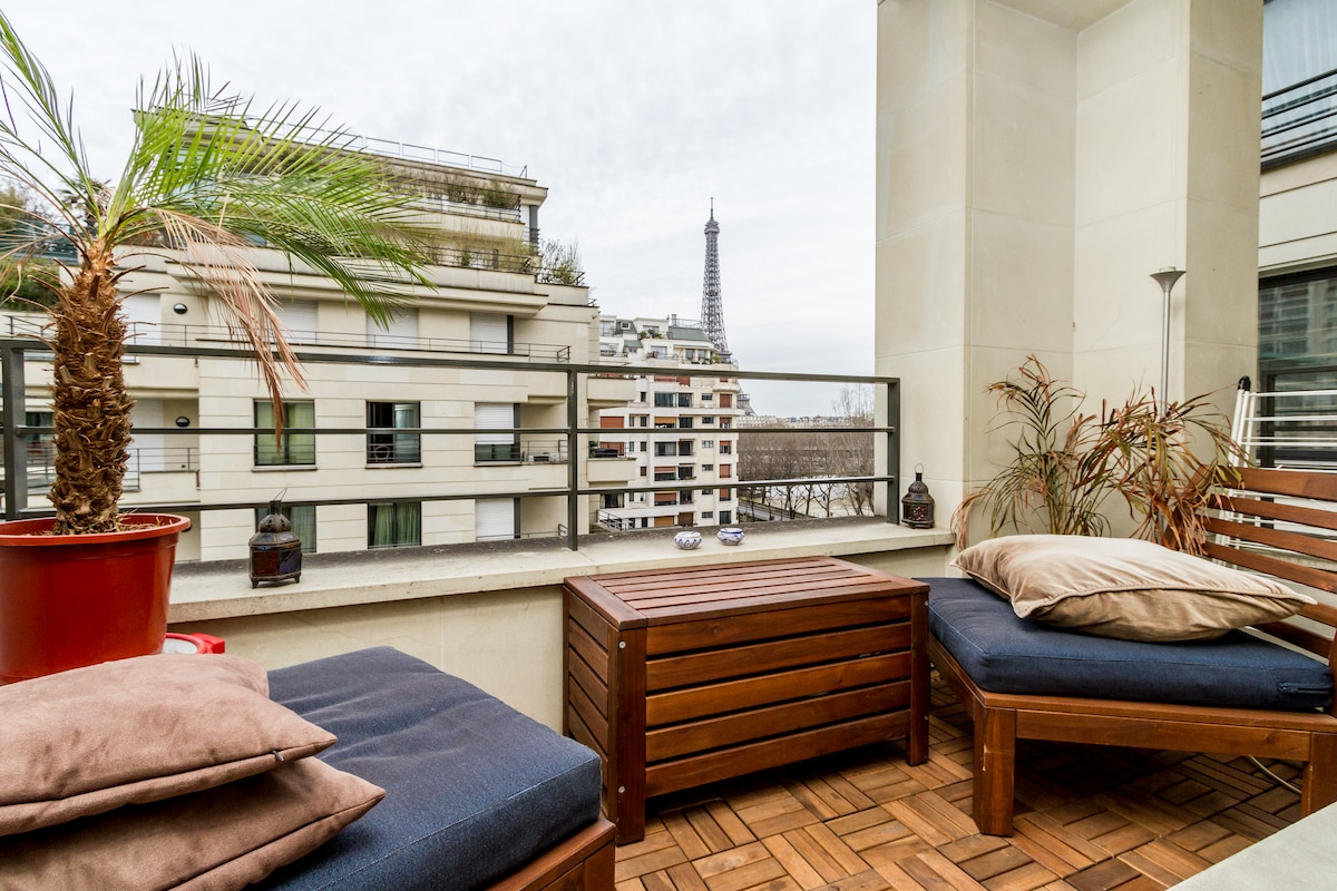 COSY FLAT with View on EIFFEL TOWER