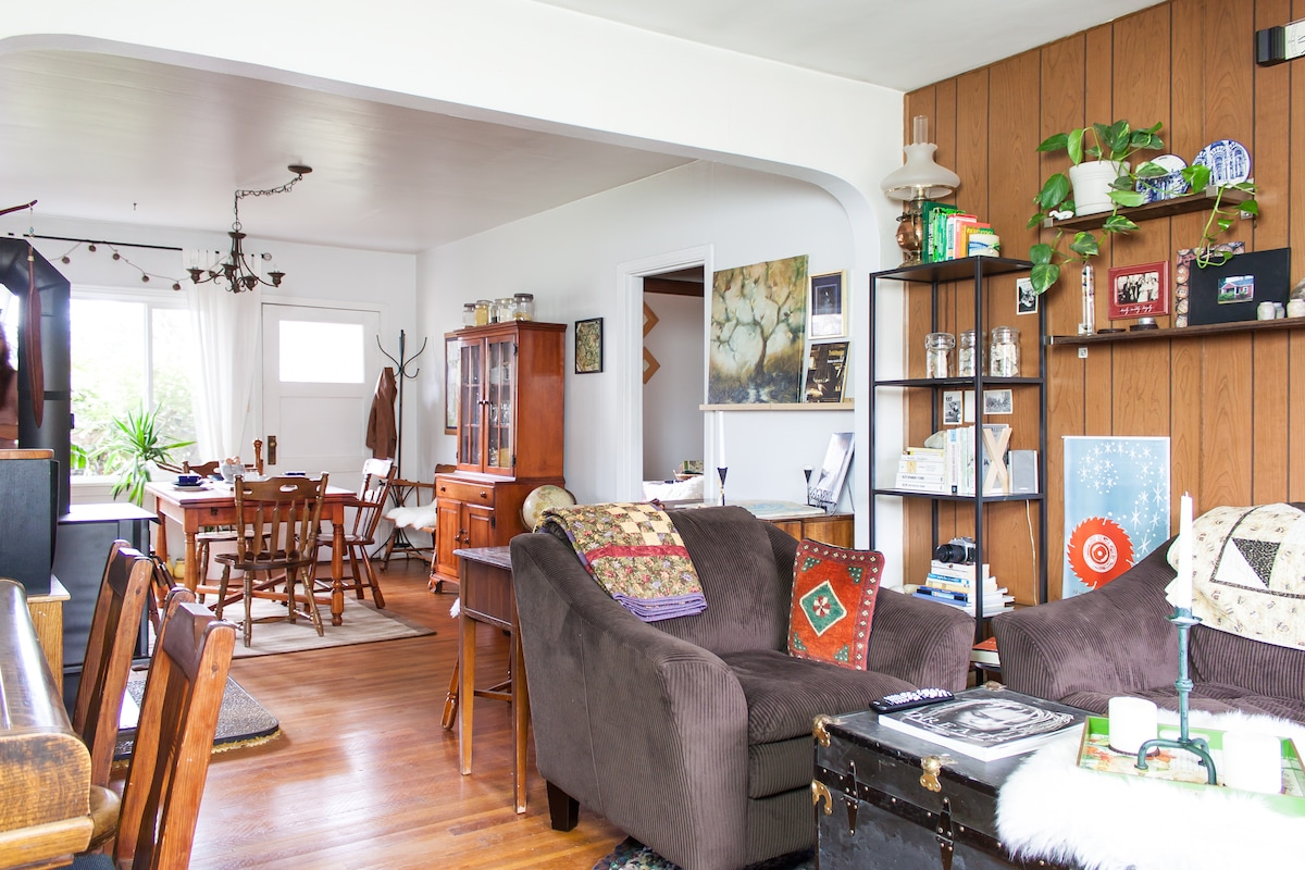 Shared living and dining rooms.