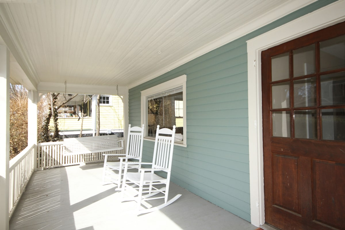Front Porch with Rocking Chairs and Porch Swing