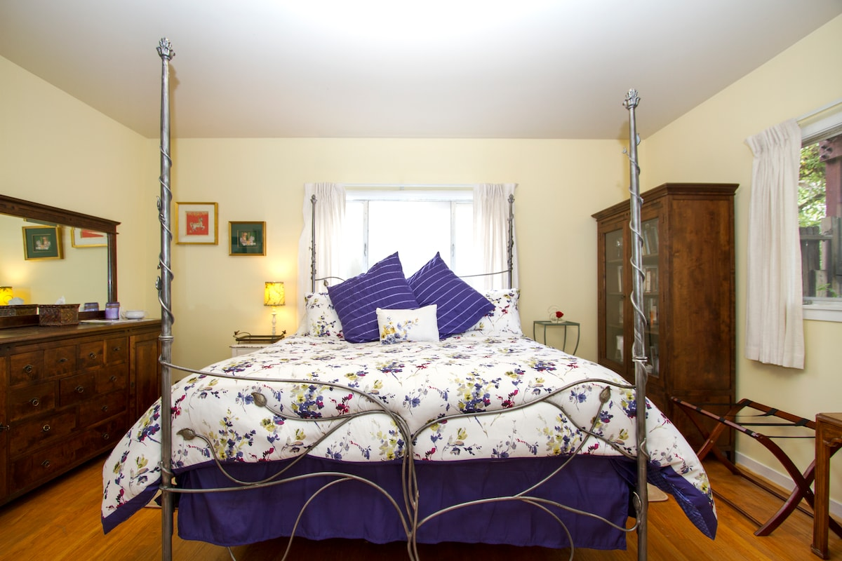 Beautiful King European Sized bed.  Wow, you may not want to leave the room!