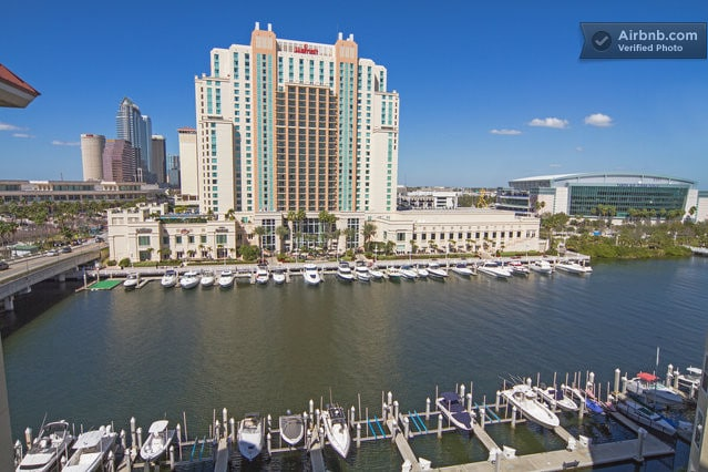 Panoramic water views of Garrison Channel and downtown Tampa