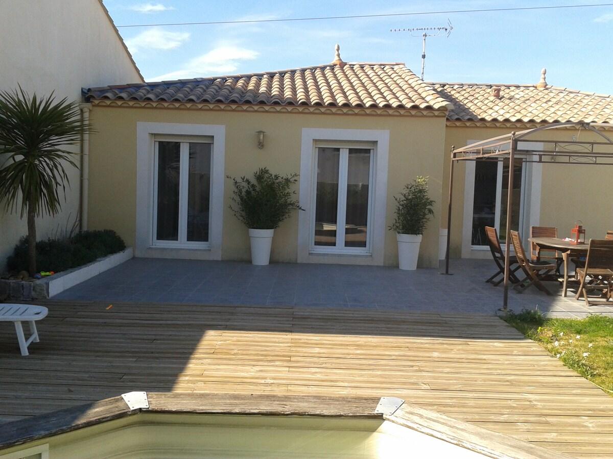Chambre individuelle villa/piscine