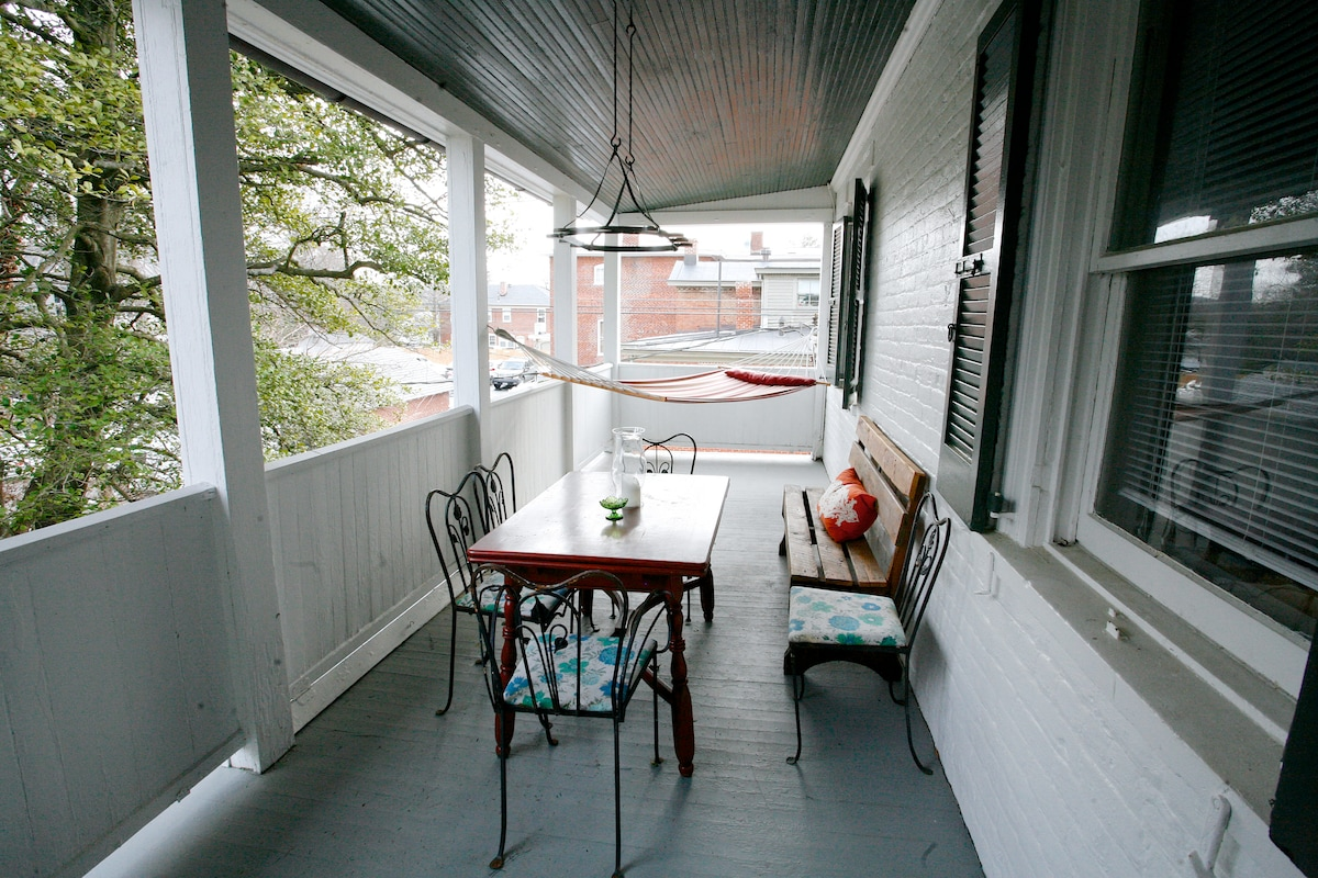Upstairs private balcony, just off guest room