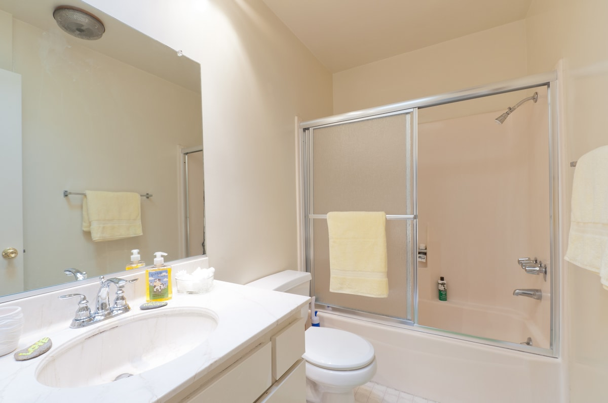 Bathroom with plush towels provided