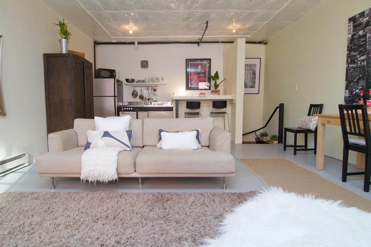 Comfy living room sofa.