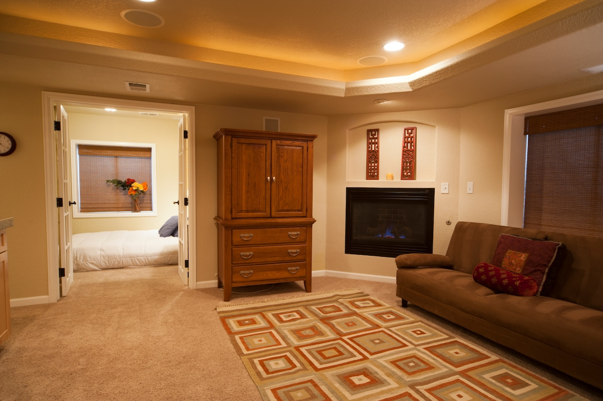 Living area looking into the bedroom-gas fireplace, cable TV (inside cabinet), couch is double futon