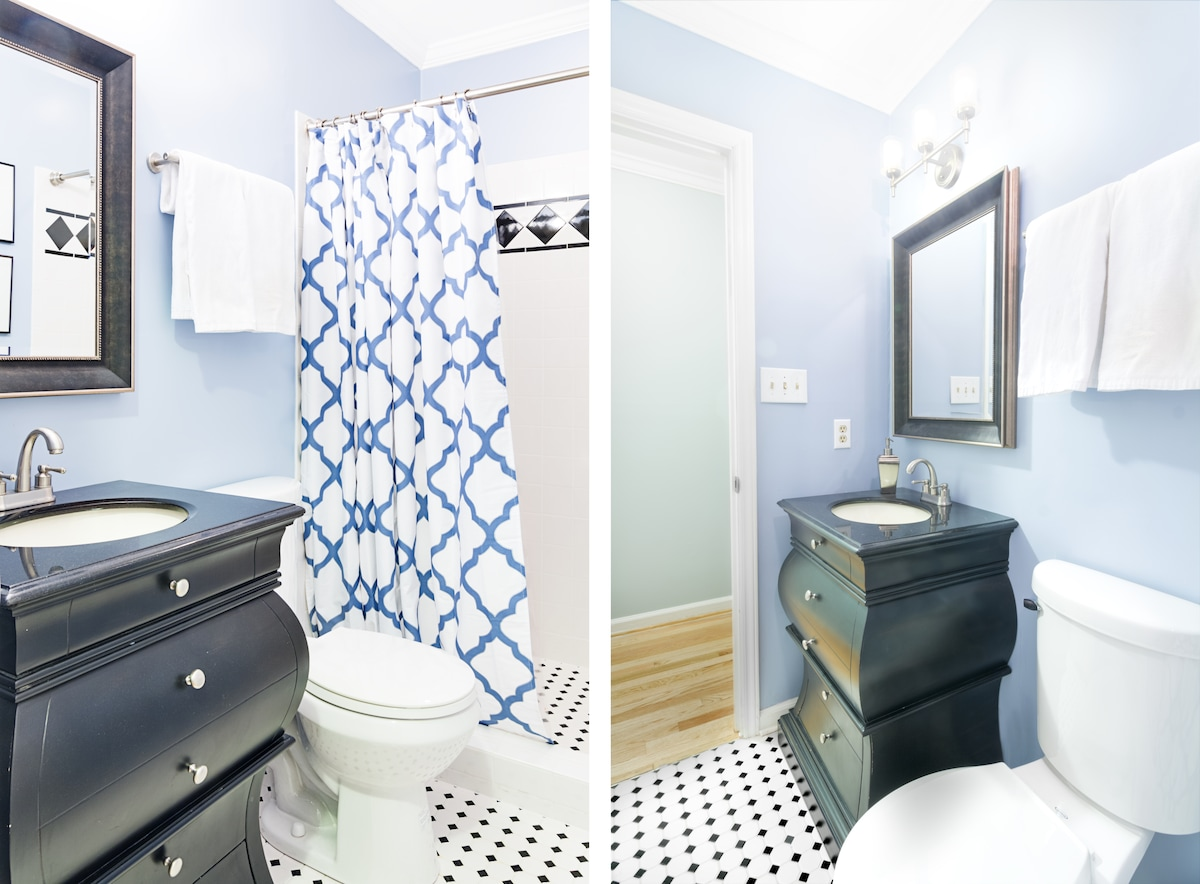 The Guest Bathroom offers sink, walk-in shower with towels shampoo/conditioner, soap and hair dryer.