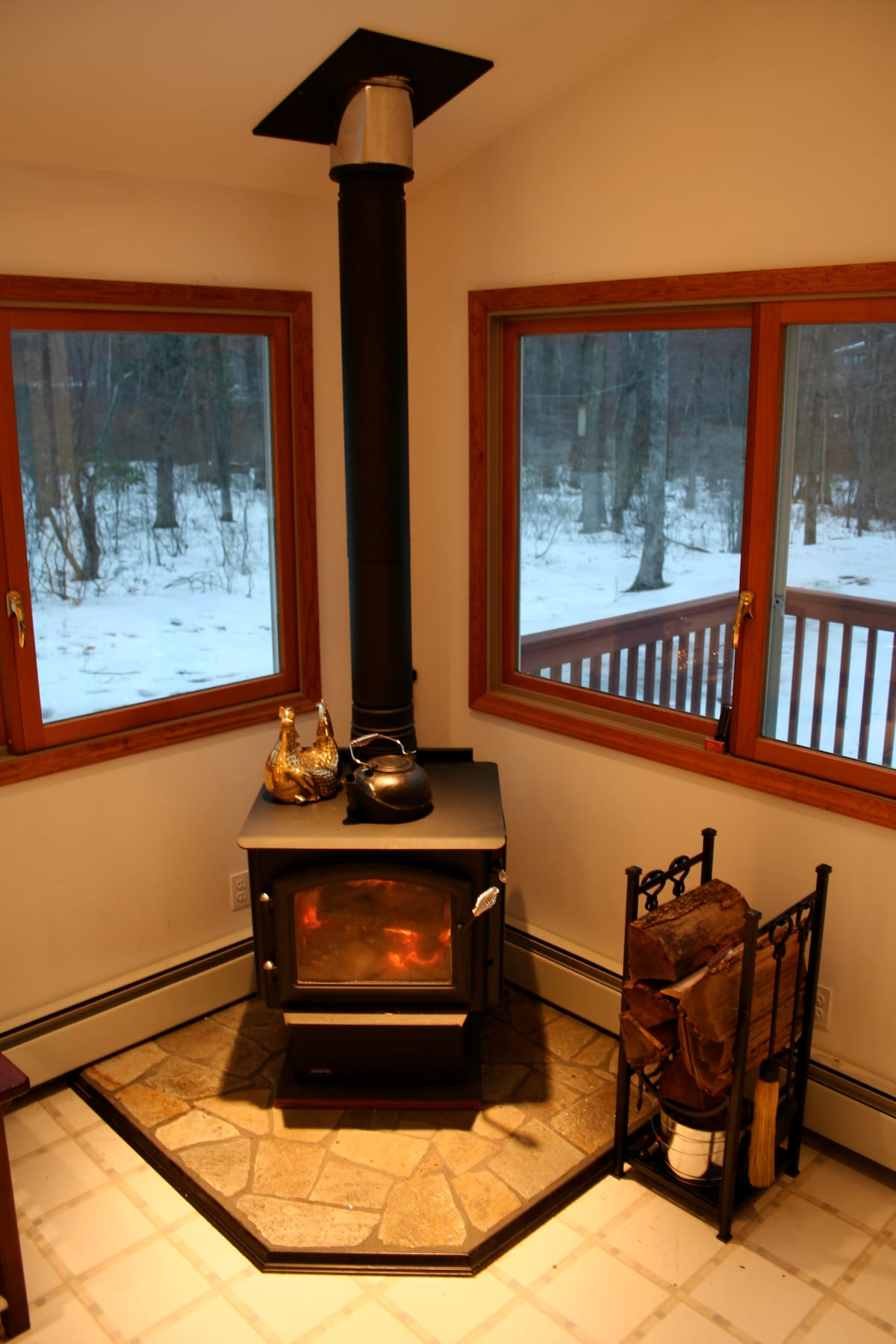 Cozy Wood Burning Stove & Hearth