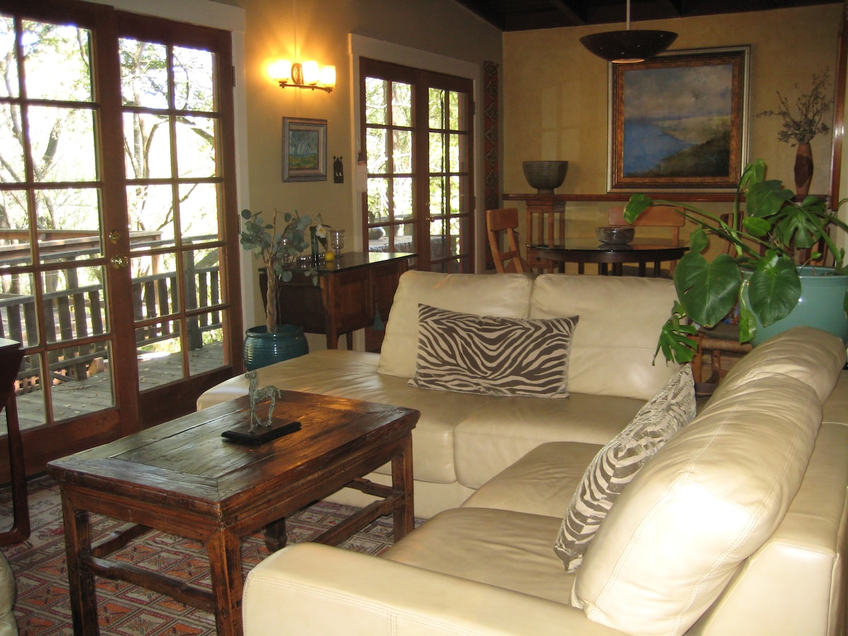 Living room with french doors to huge deck