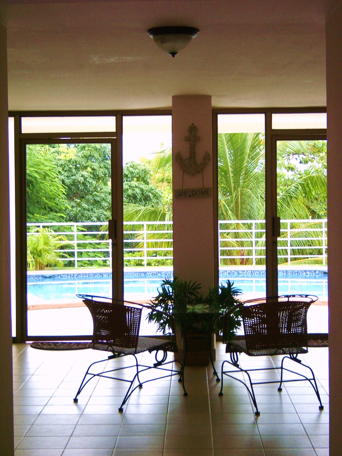 Lobby with pool view