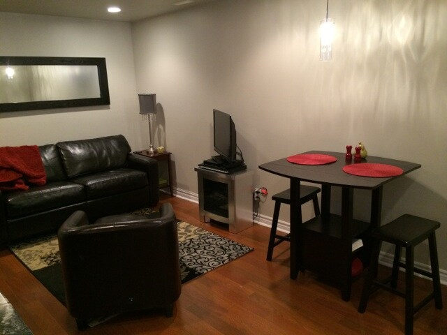 living and dining space, pull out sofa