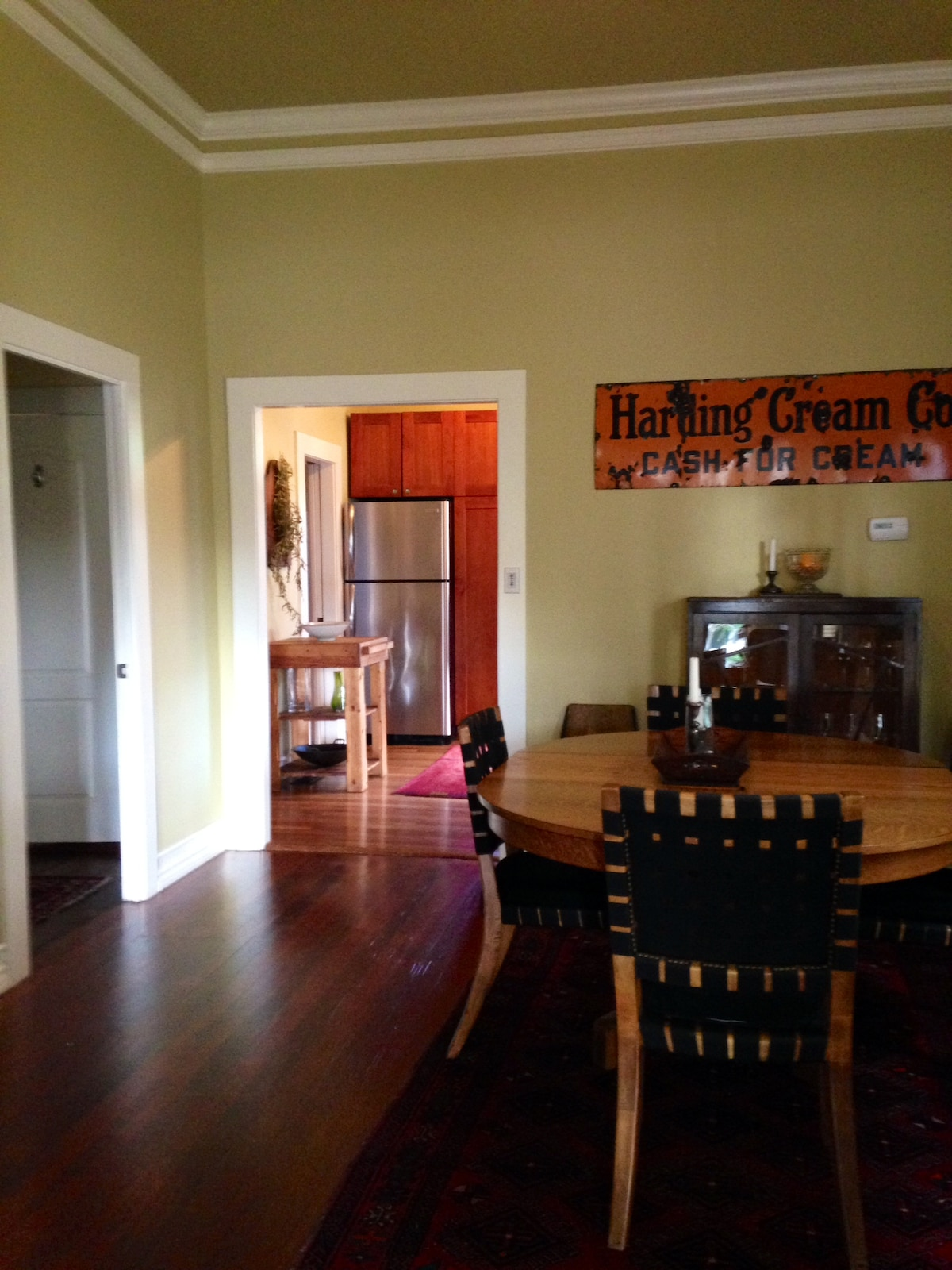 Dining room towards kitchen. Master bedroom to the left