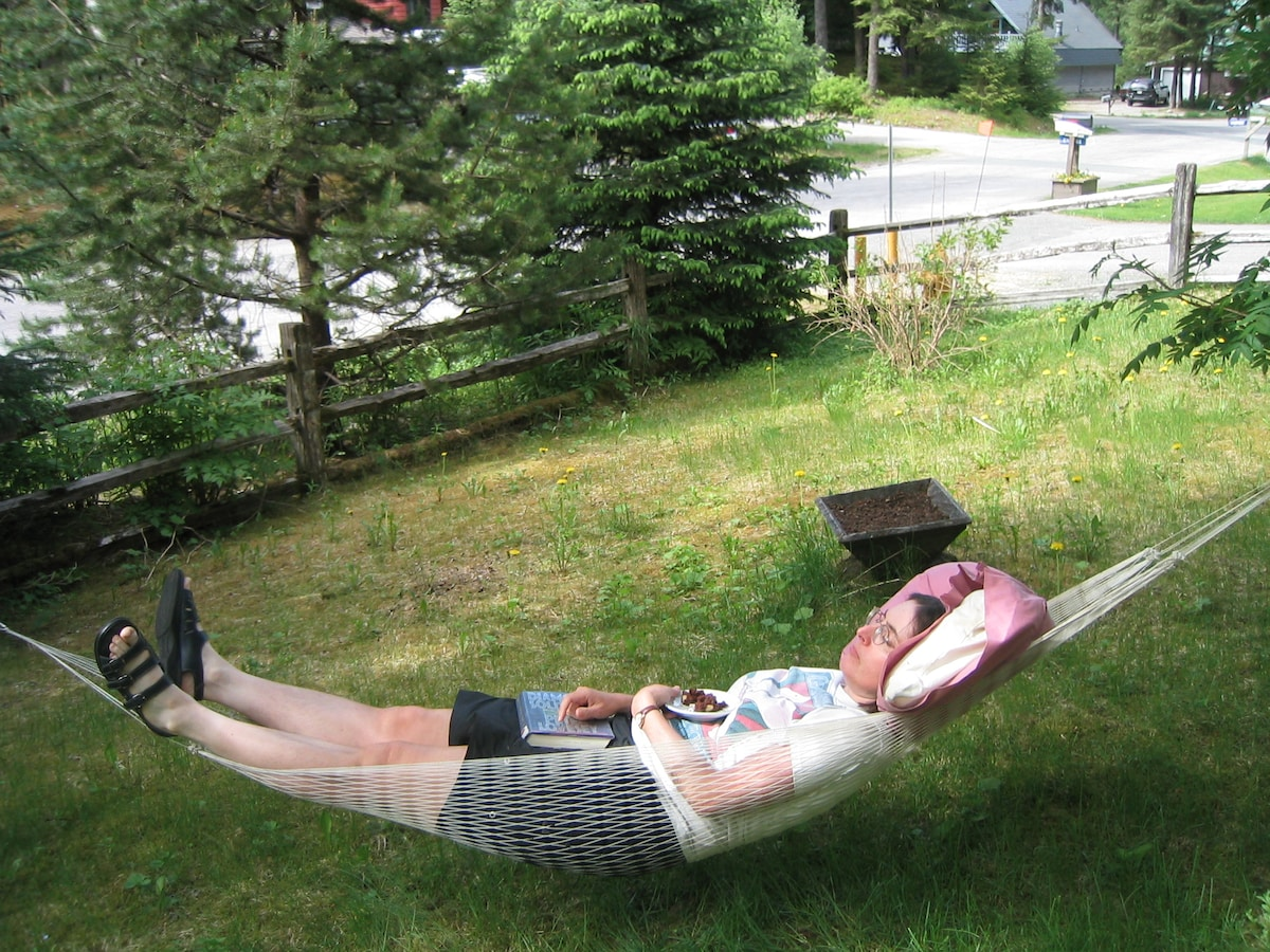 Use our hammock in the front yard