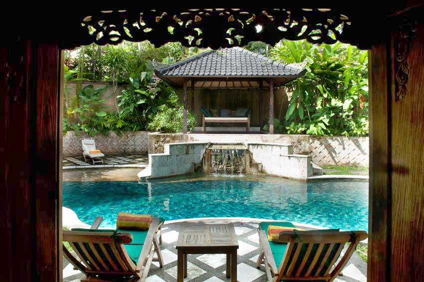 Living area gives on to an enclosed private garden with private plunge pool and outdoor pavilion