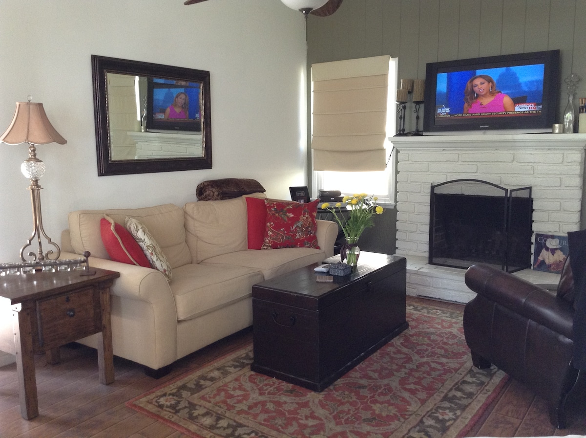 Living area with fireplace
