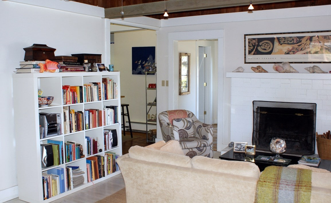 Livingroom area with fireplace  Kitchen, bathroom and Master to the left