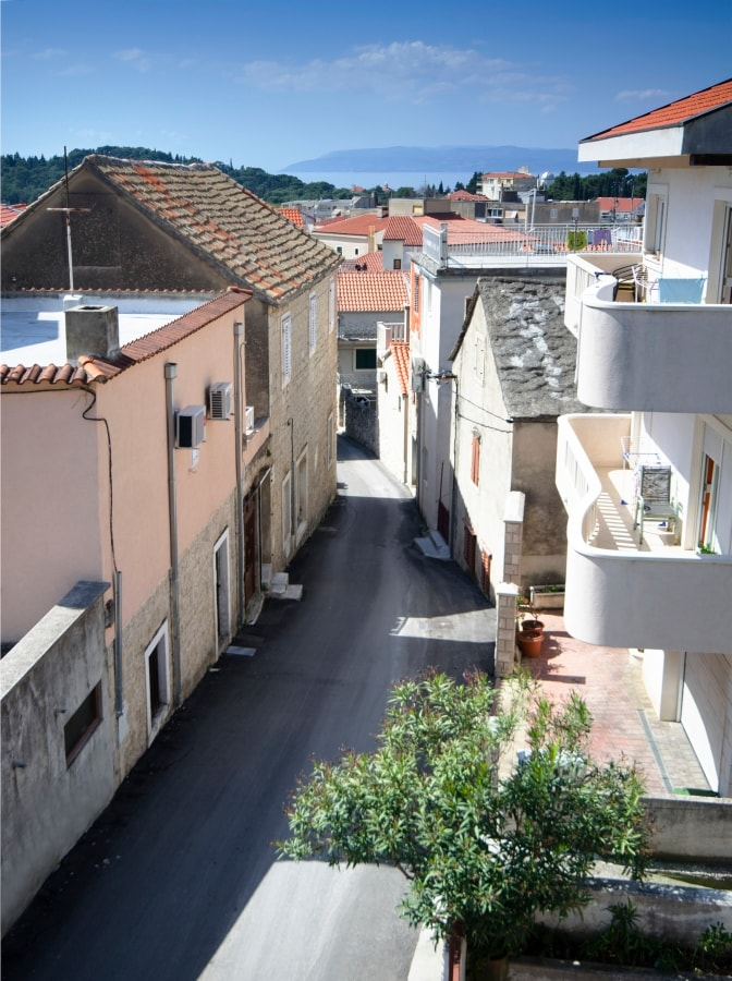 View down the street and towards the sea