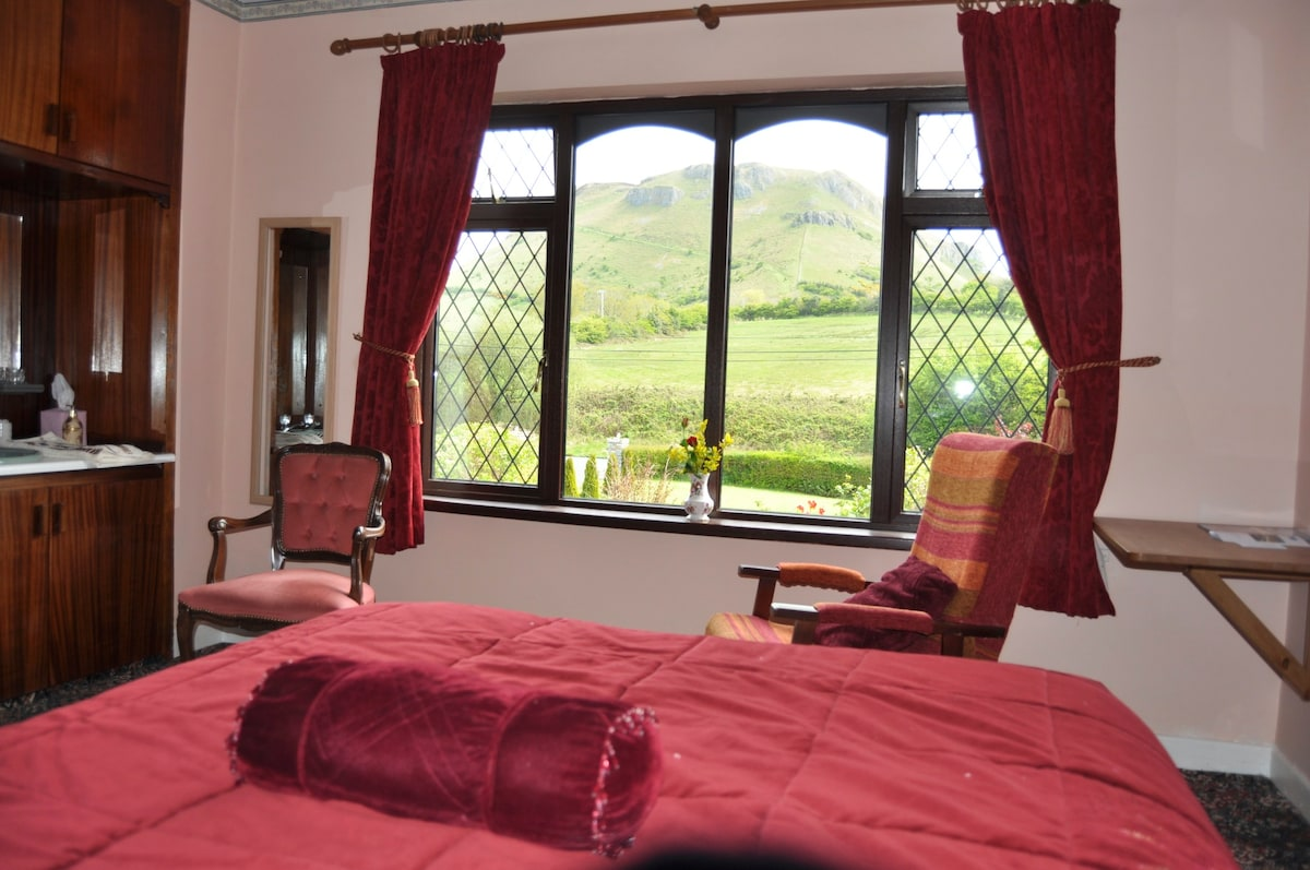 One of the four bedrooms on offer with a great view of Copes mountain