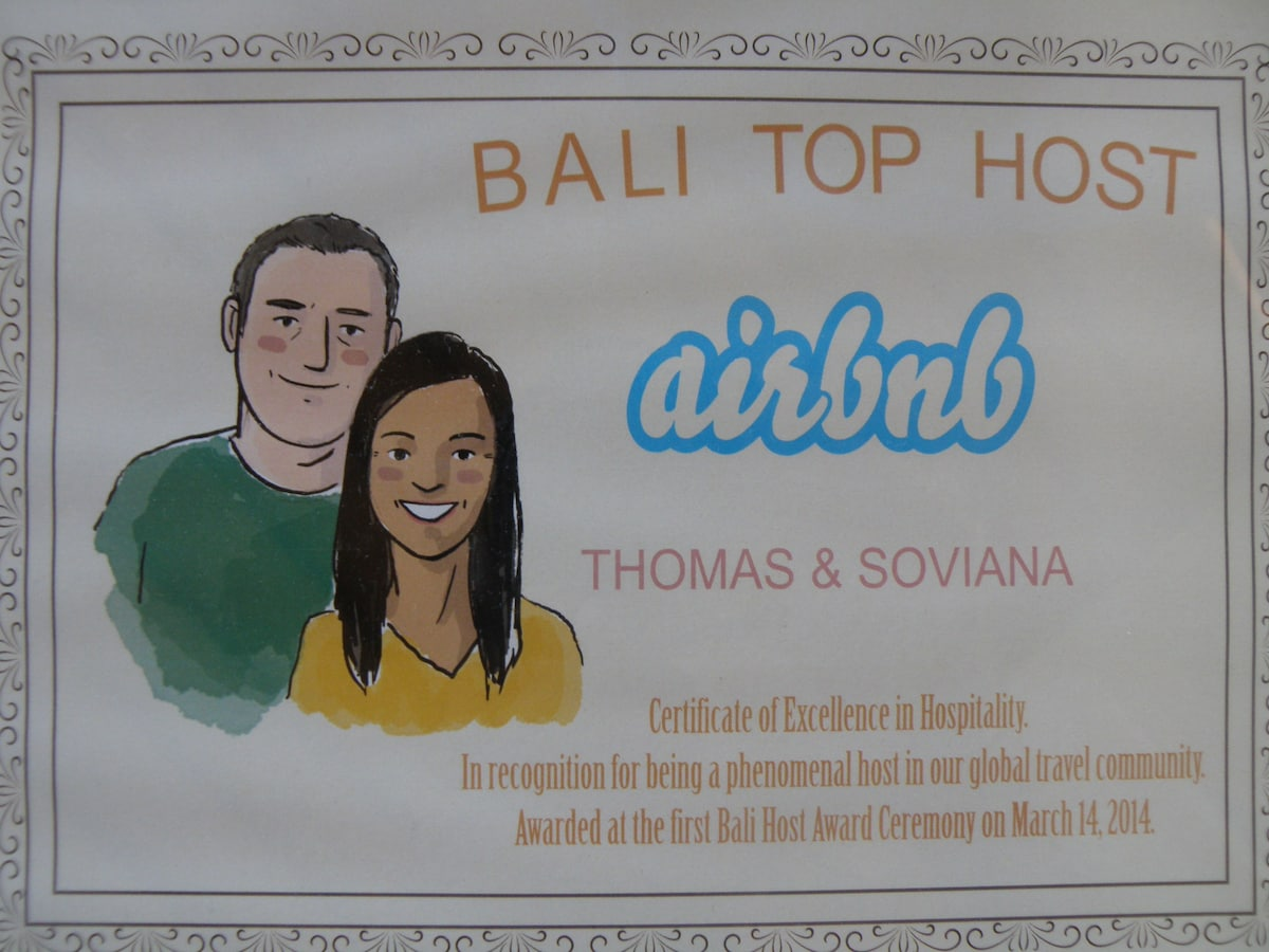We are proud to be 1 of 11 hosts being awarded as  Bali Top Host, among more than 2000 other hosts. We were awarded at the Bali Host Award Ceremony. Lately we have also been rewarded as ``Superhosts`` - see below before the map!