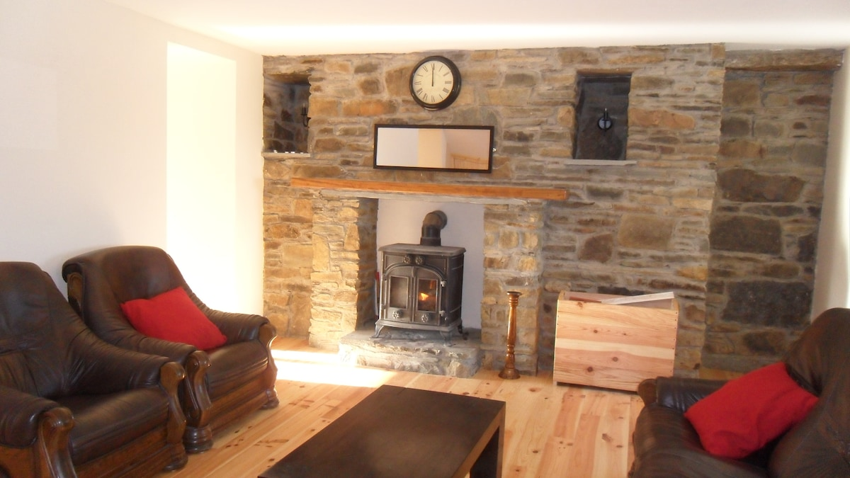 Large open plan living area with wood burner surrounded by stone.