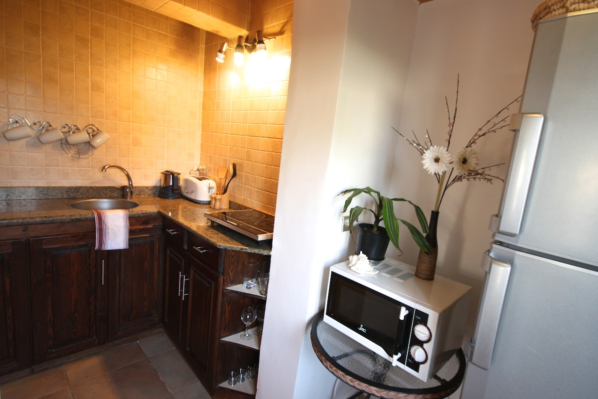 Well equipped kitchen with large fridge/freezer, very efficient induction hob and microwave