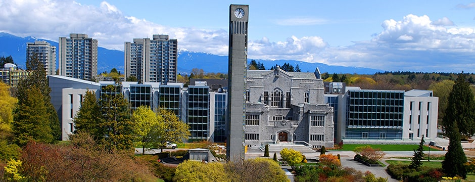 Our apartment in located right on UBC campus (picture of UBC Main Library and the clock tower)