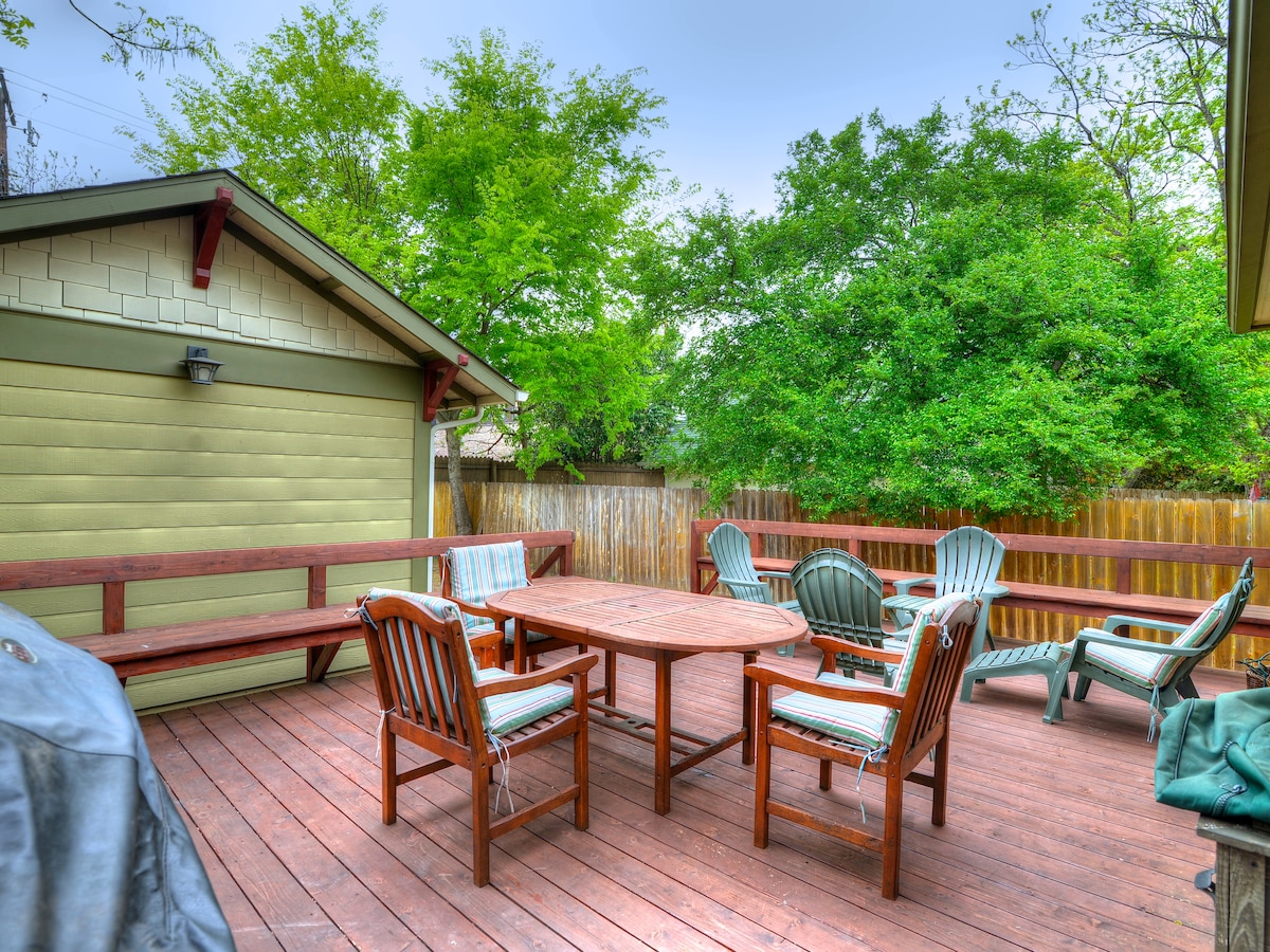 There's a back porch made for everything from dinner to suntanning!