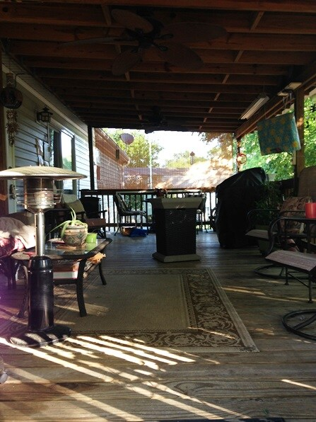 Back deck with FlatScreen TV, Grill, and patio heaters