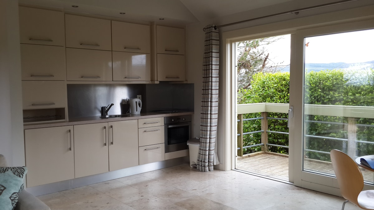 Built in kitchen finished to very high standard with hob, oven, fridge freezer, microwave,  wine rack